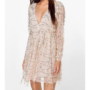 sequin wrap over dress